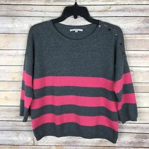 ⛄️ 5/$25 Gap Medium Gray Pink Stripe Sweater